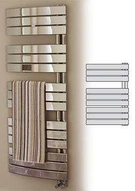 Related Prism Designer Chrome Curved Towel Warmer 550 x 1380mm