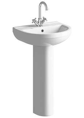 Related Wave 500mm 1 Tap Hole Basin With Full Pedestal