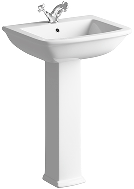 Related Porto 600mm 1 Tap Hole Basin With Full Pedestal
