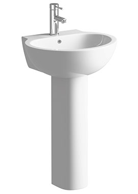 Related Cream 530mm 1 Tap Hole Basin With Full Pedestal