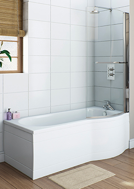 Related Velo P Shape Space Saver LH Shower Bath 1495 x 700mm With Screen