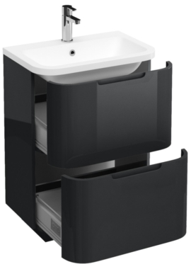 Related Aqua Cabinets Compact Grey 600mm 2 Drawer Floor Standing Basin Vanity Unit