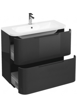 Related Aqua Cabinets Compact Grey 900mm 2 Drawer Floor Standing Basin Vanity Unit
