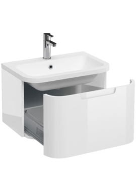 Related Aqua Cabinets Compact White 600mm 1 Drawer Wall Hung Basin Vanity Unit