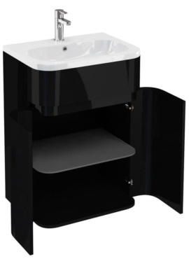 Aqua Cabinets Gullwing Black 600mm Floor Standing Vanity Unit With Basin