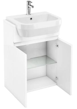 Related Aqua Cabinets D30 White Semi-Recessed Basin Unit 600mm