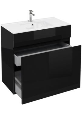 Related Aqua Cabinets D450 Black 900mm Floor Standing Double Drawer Vanity Unit