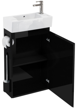 Related Aqua Cabinets All-In-One Black Floor Standing Unit And Cloakroom Basin