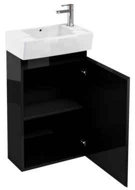 Related Aqua Cabinets Compact 305 Black Floor Standing Unit And Cloakroom Basin