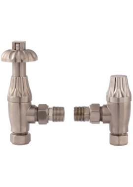 Related Lauren Thermostatic Satin Nickel Angled Valve With Lockshield