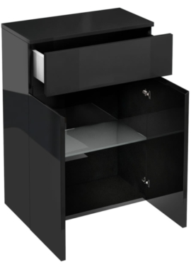 Related Aqua Cabinets D30 Black 600mm Drawer And Double Door Unit