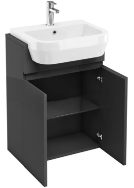 Related Aqua Cabinets D30 Anthracite Grey Semi-Recessed Basin Unit 600mm