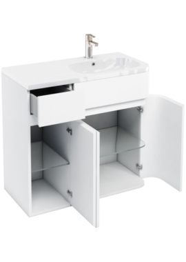 Related Aqua Cabinets D450 Arc White 900mm Right Hand Cabinet With Quattrocast Basin