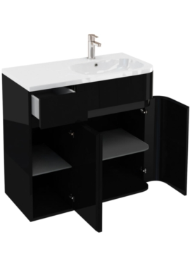 Related Aqua Cabinets D450 Arc Black 900mm Right Hand Cabinet With Quattrocast Basin