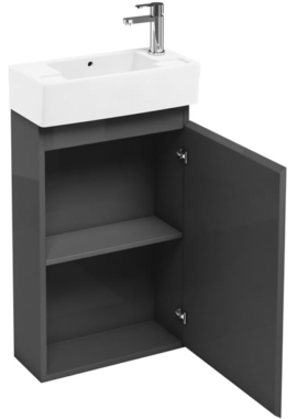 Beau Aqua Cabinets Compact 250 Grey Floor Standing Unit And Cloakroom Basin