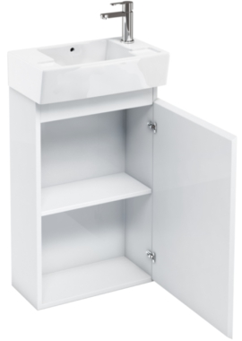 Related Aqua Cabinets Compact 305 White Floor Standing Unit And Cloakroom Basin