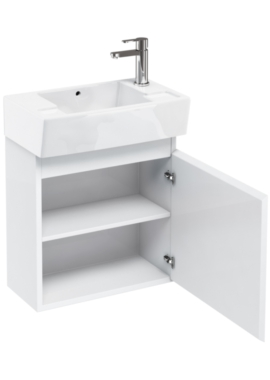 Related Aqua Cabinets Compact 305 White Wall Hung Unit And Cloakroom Basin