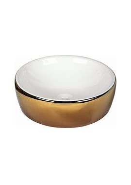 Related Dune Lavabo White And Gold 435mm Round Countertop Basin