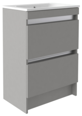 Related Utopia Qube 600mm Floorstanding 2 Drawer Reduced Unit With Mineralcast Basin