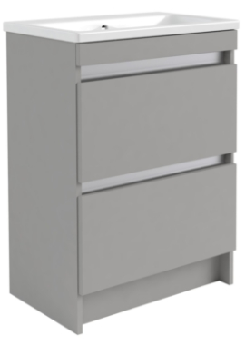 Related Utopia Qube 600mm Floorstanding Double Drawer Unit With Ceramic Basin