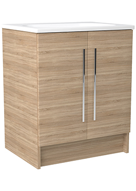 Related Noble Modular Natural Oak 600mm Freestanding Double Door Unit With Basin