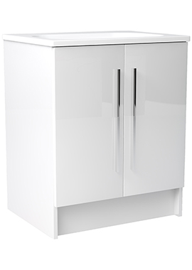 Related Noble Modular White Gloss 600mm Freestanding Double Door Unit With Basin
