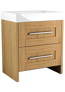 Related Timber Modular 600 Freestanding 2 Drawer Unit With Mineralcast Basin