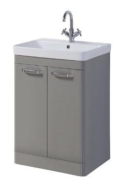 Related Kartell Options 500mm Basalt Grey Floor Standing 2 Door Unit And Basin