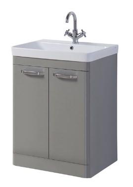 Related Kartell Options 600mm Basalt Grey Floor Standing 2 Door Unit And Basin