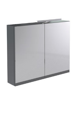 Related Kartell Ikon 800mm Grey Mirror Cabinet With Light And Shaver Socket