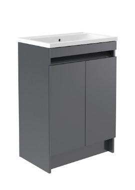 Related Kartell Ikon 600mm Grey Floor Standing 2 Door Unit And Ceramic Basin
