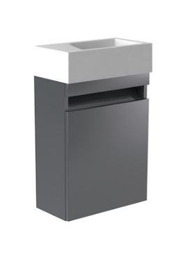 Related Kartell Ikon Left Hand 400mm Grey Wall Mounted Cloakroom Unit And Basin