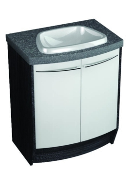 Related Symmetry Freestand Curved Unit With 50mm SS Worktop And Mineralcast Basin