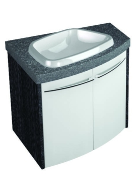 Related Symmetry Wall Mounted Offset Curved Unit With 28mm SS Worktop And Basin