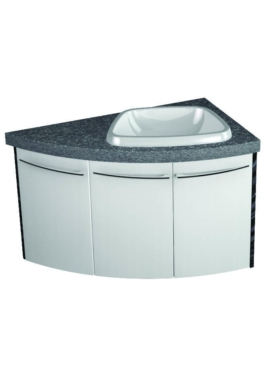 Related Symmetry Wall Mounted 3 Door Corner Unit With 28mm SS Worktop And Basin