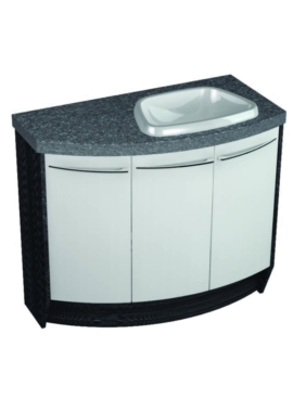 Related Symmetry Freestand 3 Door Curved Unit With 28mm SS Worktop And Basin