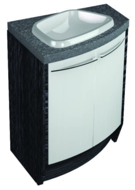 Related Symmetry Freestand Offset Curved Unit With 28mm SS Worktop And Inset Basin