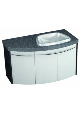 Related Symmetry Wall Mounted 3 Door Curved Unit With 50mm SS Worktop And Basin