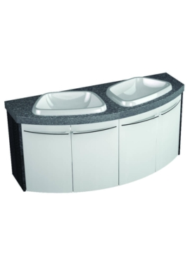 Related Utopia Symmetry Wall Mount 4 Door Unit With 28mm SS Worktop And Twin Basin