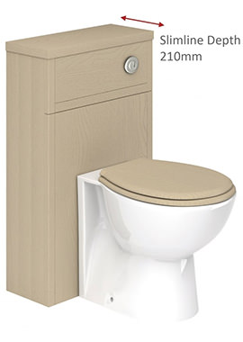 Related QX Grosvenor 500mm Slimline WC Base Unit - Dakar Ash