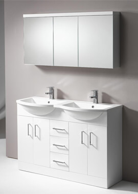Related QX Eden 1200mm 4-Door And 3-Drawer Base Unit And Double Basin - Gloss White