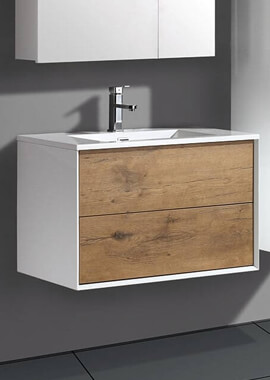 Related QX Milan 2 Drawer Wall Hung Base Unit 600mm - Gloss White And Oak
