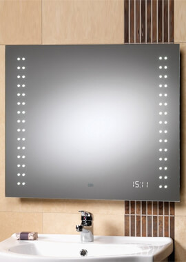 Related QX Discovery 700 x 600mm Mirror With Integrated LED Lights And Clock