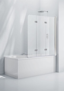 Related Frontline Aquaglass+ 6mm Clear Glass 3 Fold Bath Screen 1200 x 1400mm